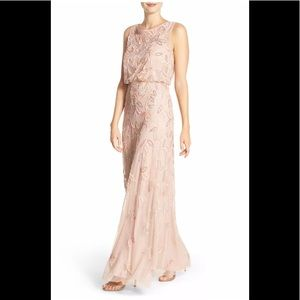 Adrianna papell floral beaded mesh illusion gown